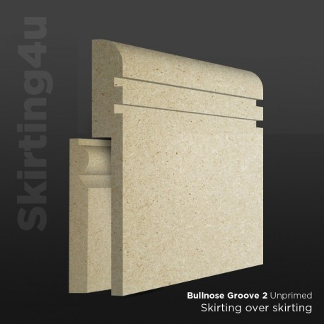 Bullnose Groove 2 MDF Skirting Board Cover (Skirting Over Skirting)