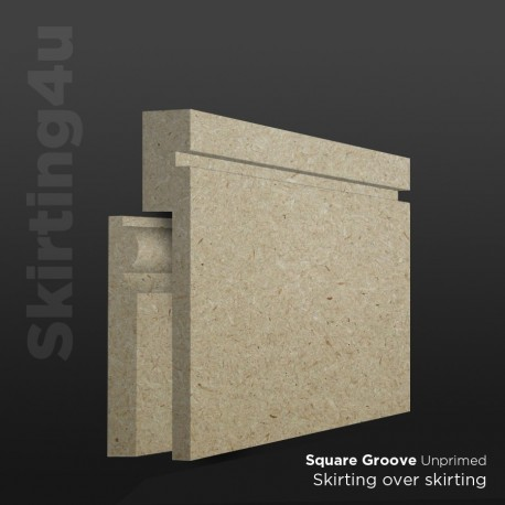 Square Groove MDF Skirting Board Cover (Skirting Over Skirting)