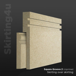 Square Groove 2 MDF Skirting Board Cover (Skirting Over Skirting)