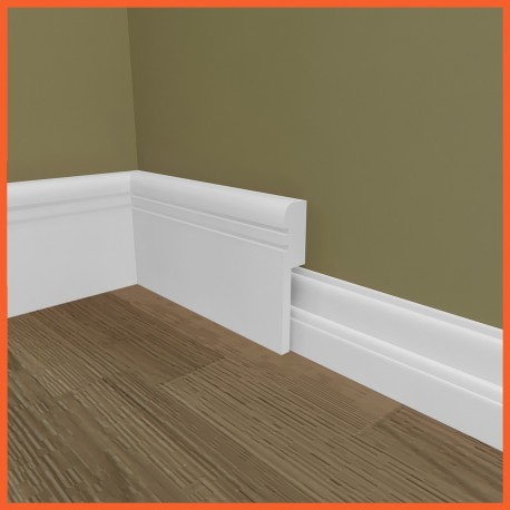 Bullnose Groove 2 MDF Skirting Board Cover (Skirting Over Skirting)