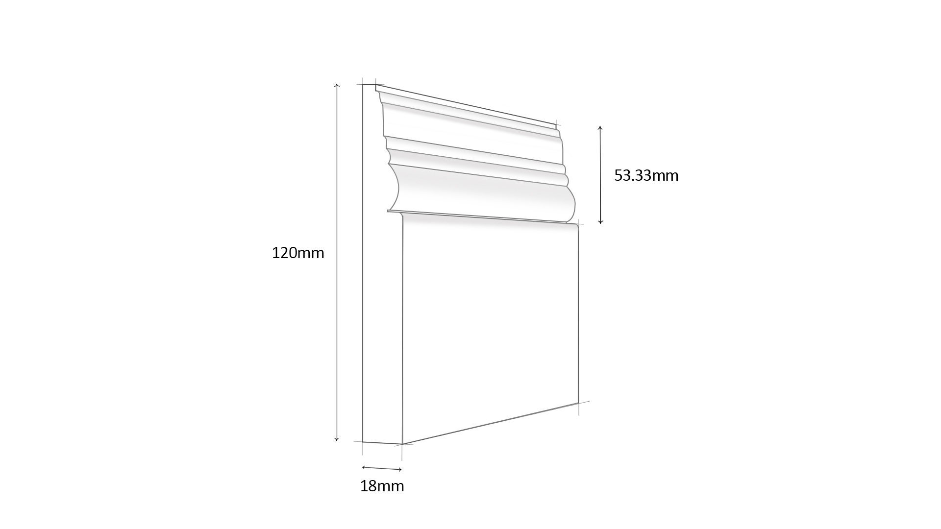 Antique MDF Skirting Board with profile dimensions