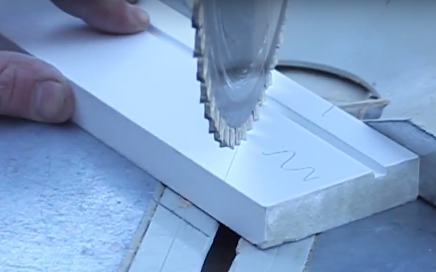 Cutting architrave at correct angle on mitre saw